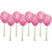 """Шары с надписью """"С днем рождения 1 год"""" розовые"""