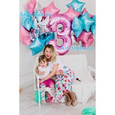 Фольгированные звёзды и цифра на День Рождения девочки