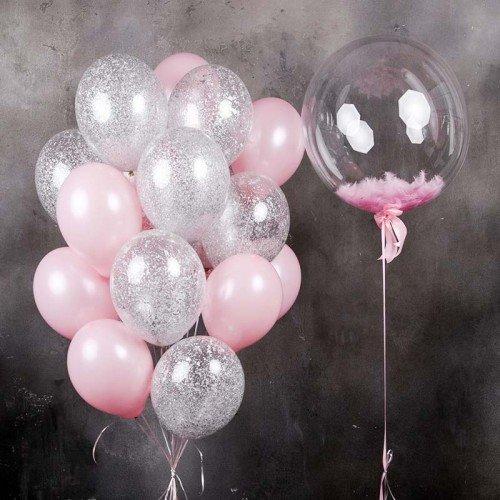 Баблс с белыми и фонтан из шаров с конфетти