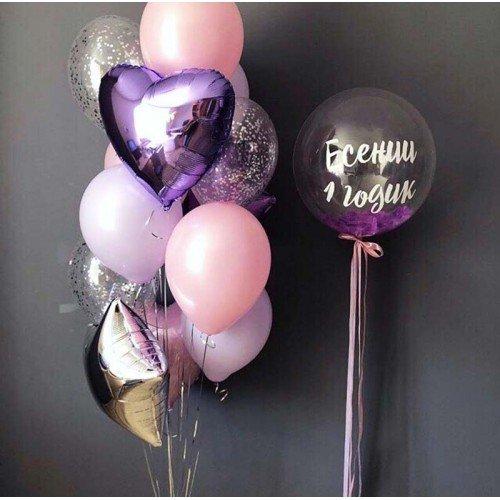 Bubble с надписью и фонтан из шаров
