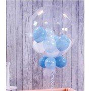 Шар баблз с белыми и голубыми шариками внутри