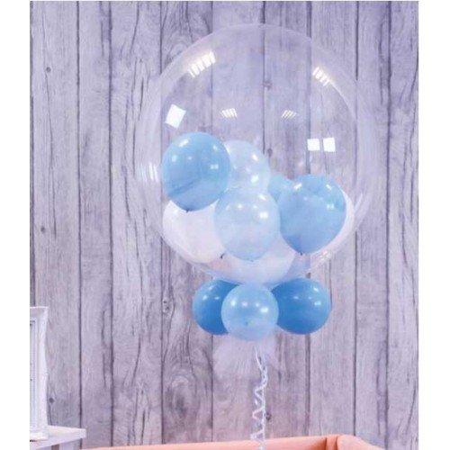 Шар баблз с шариками белого и голубого цвета внутри