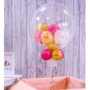 Шарик баблз с шариками красного и золотого цвета
