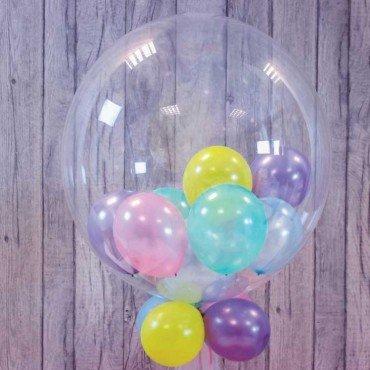 Шар баблз с разноцветными шариками внутри