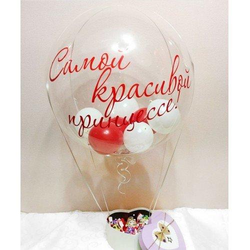Шар Bubble с шарами и коробкой сладостей