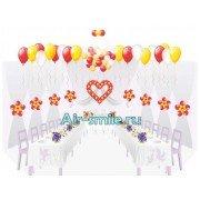 Сердце из шариков с цветками, шары на потолок на свадьбу