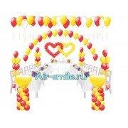 Арка на леске из шаров, стойки, фонтаны, сердца из шариков на свадьбу