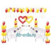Переплетенные сердца из шариков и фонтаны для украшения зала на свадьбу со скидкой