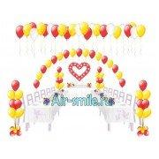 Арка из шаров на леске, 4 фонтана из шариков, сердце из шаров и шары под потолок на свадьбу