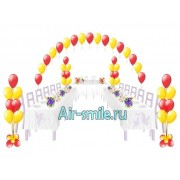 Украшение свадебного зала воздушными шариками. Вариант №2