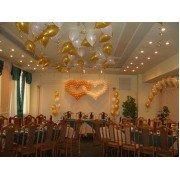 Сердца из шаров, шары под потолок на свадьбу