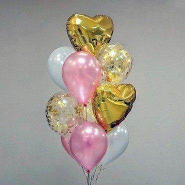 Свадебный фонтан из нежных шариков золотого и розового цвета