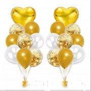 Букет из шаров на свадьбу в бело-золотом цвете