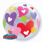 "Шар Bubble ""Разноцветные сердца"""