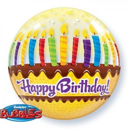 Шар баблс с рисунком торта со свечками