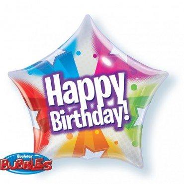 Шар баблс звезда разноцветная Happy Birthday