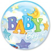 "Шар Bubble ""Луна и звёзды"" для мальчика"