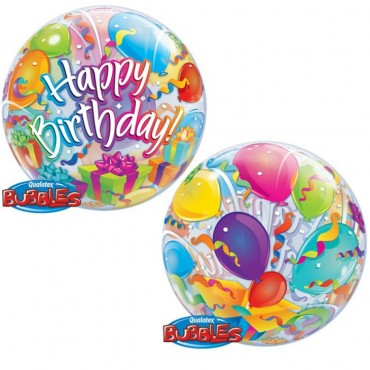 Шар баблс с надписью Happy Birthday