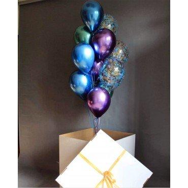 Огромная коробка с шарами сюрприз в стиле хром
