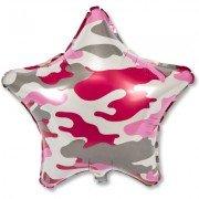 "Шар 18"" Камуфляж розовый звезда"