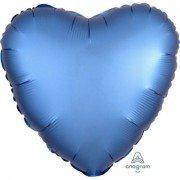 Фольгированное сердце Лазурь Сатин Люкс Hx