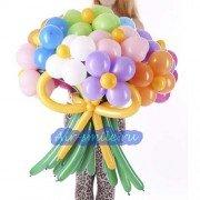 Цветы из шаров 15 штук с бантом