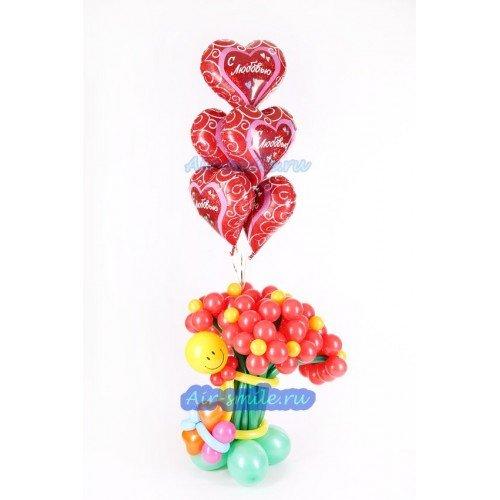 Букет красных цветов из шаров
