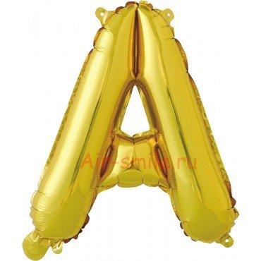 """Фольгированная буква """"А"""" золотого цвета с воздухом"""