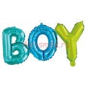 """Фольгированный воздушный шар в виде надписи """"Boy"""", разноцветный"""