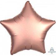 Фольгированная звезда Розовая Медь Сатин Люкс Hx