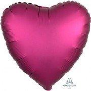Фольгированное сердце Гранатовый Сатин Люкс Hx