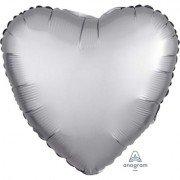 Фольгированное сердце Платиновый Сатин Люкс Hx