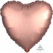 Фольгированное сердце Розовая Медь Сатин Люкс Hx