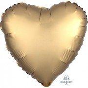 Фольгированное сердце Золото Сатин Люкс Hx