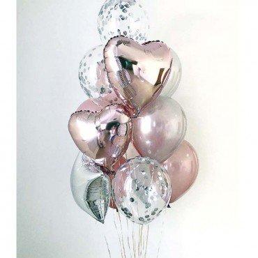 Фонтан из шаров с конфетти и фольгированными сердцами