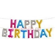 """Набор фольгированных воздушных шаров в виде букв """"Happy birthday,ассорти"""""""