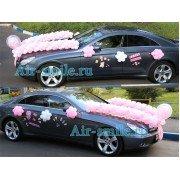 Пример украшения шарами на выписку автомобиля