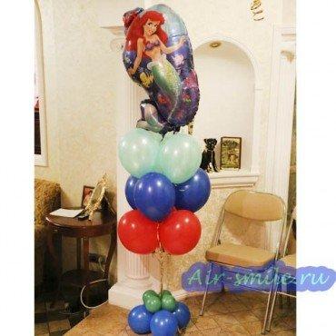 Композиция шаров с фольгированной русалкой Ариэль