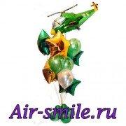 Композиция из шаров с военным вертолётом, латексными шарами и фольгированными звёздами
