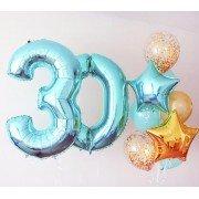 Композиция из шаров с фольгированными цифрами 30