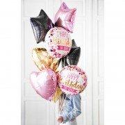 Композиция из шаров с фольгированными кругами на день рождения