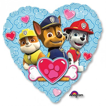 Фольгированный шар щенячий патруль в виде сердца