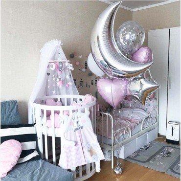 Фольгированный шар месяц для новорожденной
