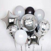 """Букет из шариков со сферой и индивидуальной надписью """"Звезда"""""""