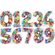 Фольгированные цифры с рисунком шаров и серпантина