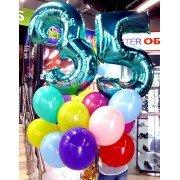Облако разноцветных шаров на день рождения с цифрами