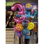 Облако весёлых шариков на день рождения с цифрой 3