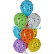 Гелиевые шарики ноты разноцветные