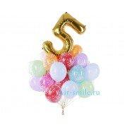 Облако шаров С днем рождения и фольгированная цифра