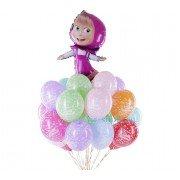 """Облако шаров """"С днем рождения"""" с добавлением фольгированного шара"""